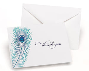 Peacock Feather - Thank You Card and Envelope (Package of 50)