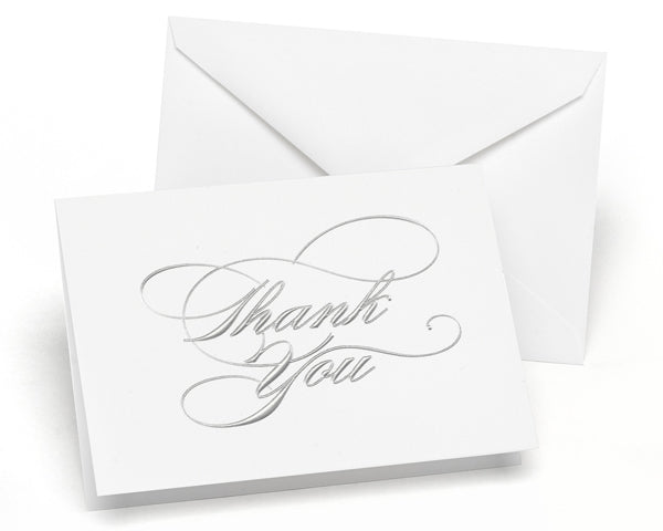 Silver - Thank You Card and Envelope (Package of 50)