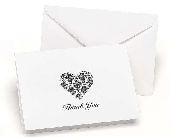Damask Heart - Thank You Card and Envelope (Package of 50)