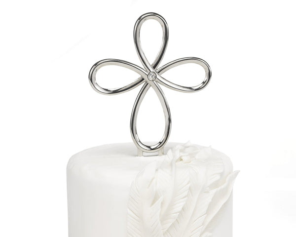 Sparkling Looped Cross Cake Topper