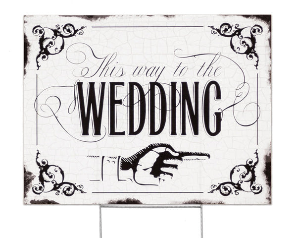 Vintage Wedding Directional Sign - Wedding Reception Decoration