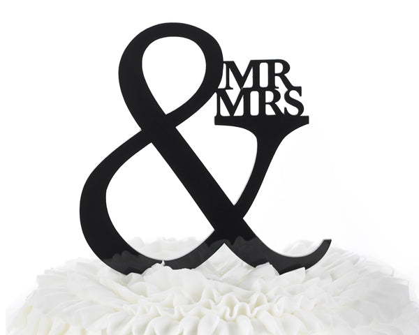 Mr. & Mrs. Black Acrylic Cake Topper