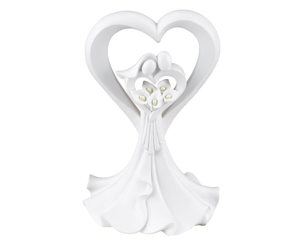 Love's Embrace White Cake Topper