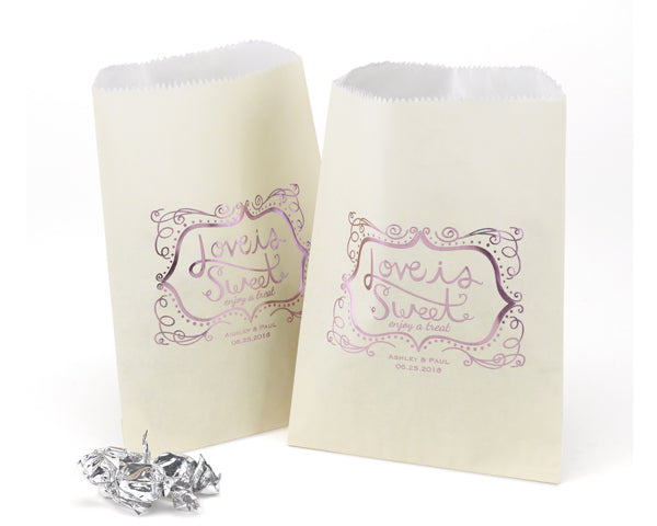 Personalized Love is Sweet Treat Bags - Ivory (Set of 50)