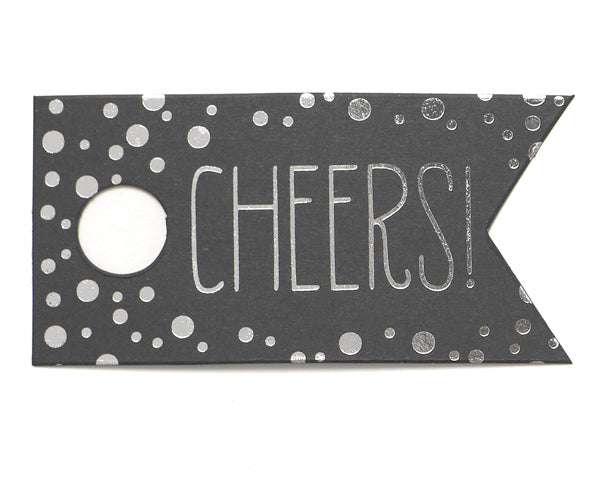 Cheers Polka Dot Favor Tags (Available in Silver or Gold) (Set of 25)