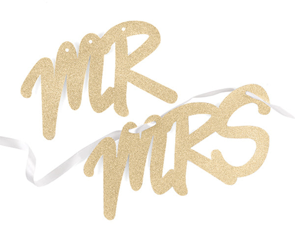 Gold Glitter Mr. & Mrs. Chair Signs