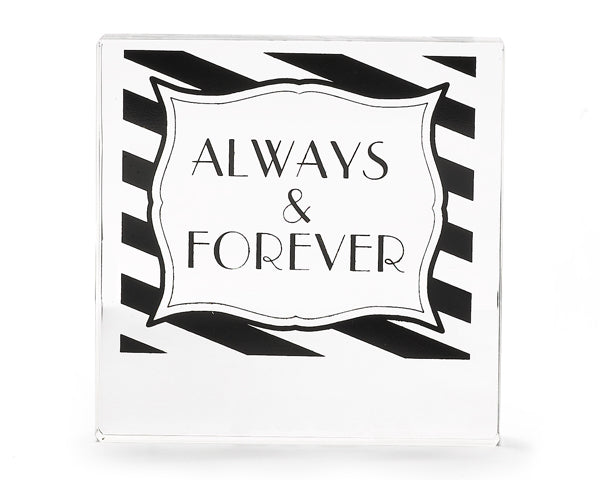 Striped Always & Forever Acrylic Cake Topper