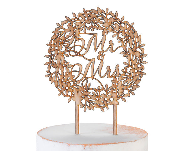 Rustic Wreath Mr. & Mrs. Wood Cake Topper