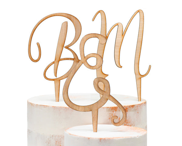 Initial Wood Cake Topper