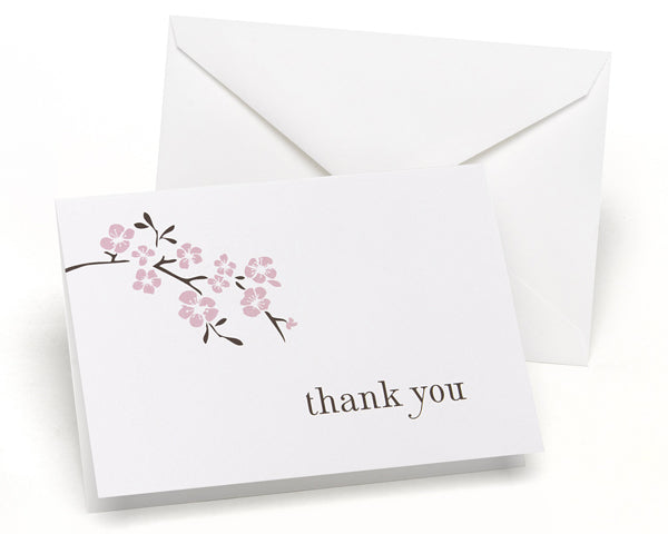 Cherry Blossom - Thank You Card and Envelope (Package of 50)