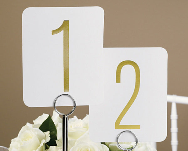 Classic Gold Metallic Foil Table Number Cards