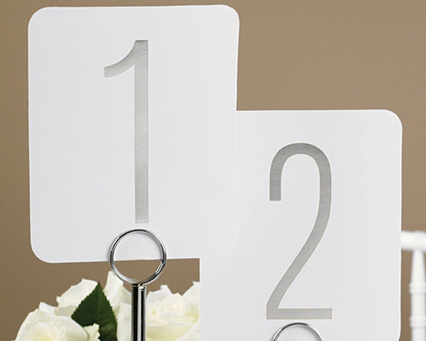 Classic Silver Metallic Foil Table Number Cards (1-40)