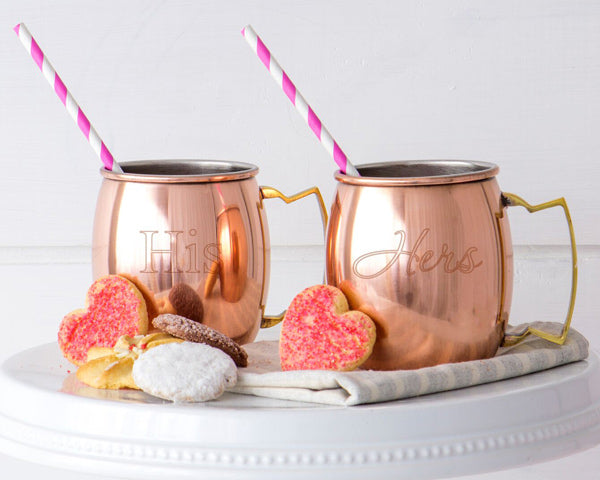 His & Hers Moscow Mule Copper Mug Set