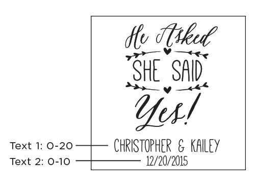 Personalized He Asked, She Said Yes 9 oz. Stemless Wine Glass
