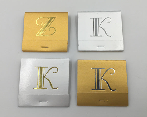 Load image into Gallery viewer, Broadway Font Monogram Matches - Gold or Silver (Box of 50)