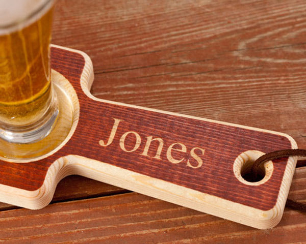 Personalized Real Wood Beer Tasting Set