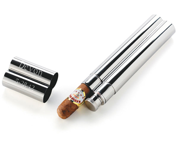 Personalized Stainless Steel Cigar Case and Flask Combo