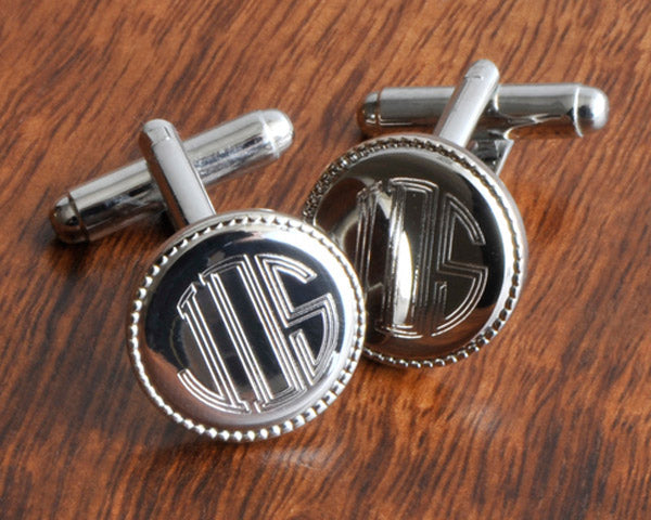 Personalized Silver Round Beaded Cuff Links