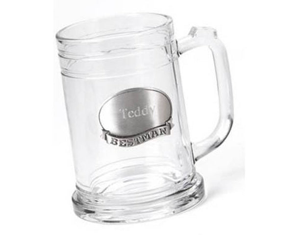 Best Man or Groomsman Personalized Pewter Medallion Glass Mug