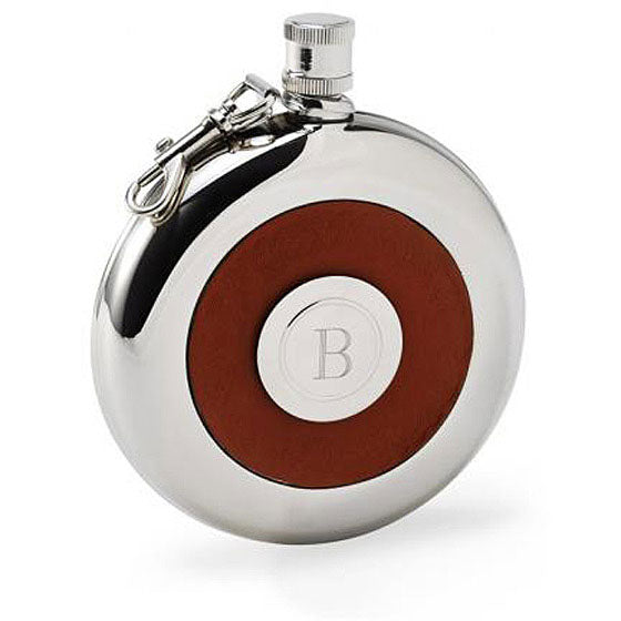 Personalized Oxford Round Leather Flask with Shot Glass