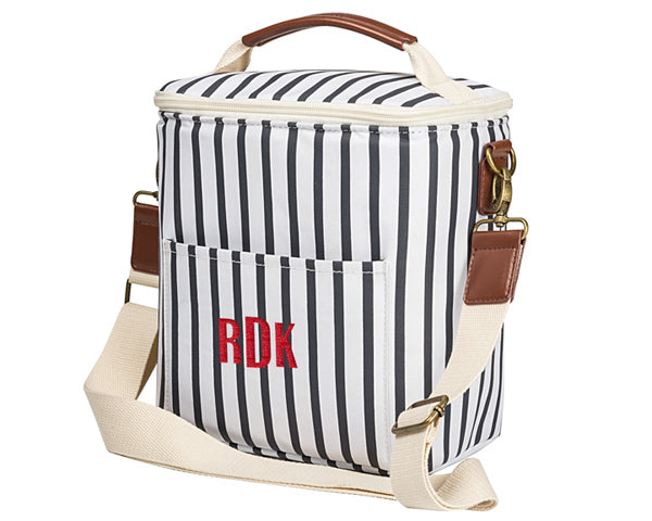 Personalized Striped Lunch Bag Cooler