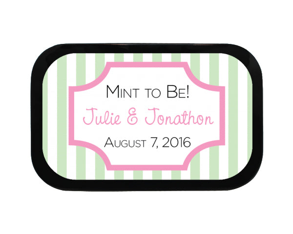 Striped Box Personalized Wedding Mint Tins