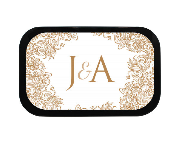 Stencil Monogram Personalized Wedding Mint Tins