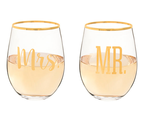 Mr. & Mrs. Gold Rim Stemless Wine Glasses