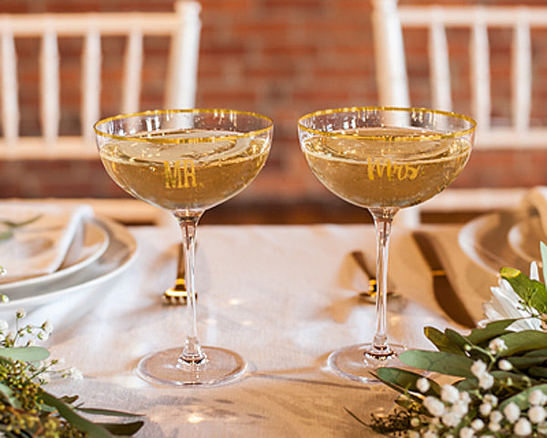 Mr. & Mrs. Gold Rim Coupe Flutes