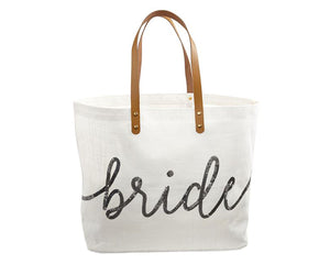 Load image into Gallery viewer, Silver Sequin Bride Tote