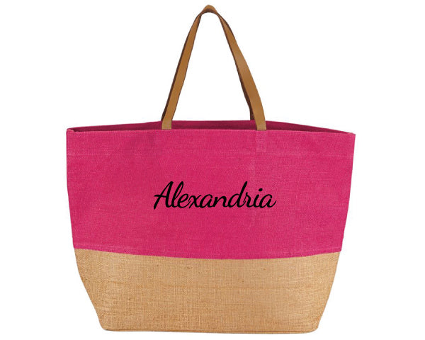 Color Pop Jute Tote (Personalization Available)