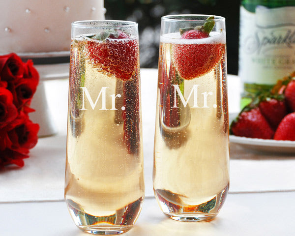 Same Sex Stemless Champagne Toasting Flutes