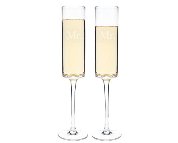 Same Sex Contemporary Champagne Flutes