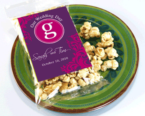 Personalized Caramel Corn Wedding Favors