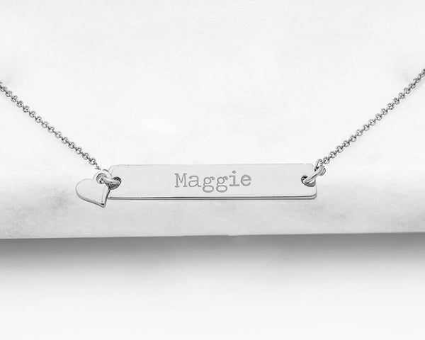 Personalized Silver Bar Necklace with Heart Charm