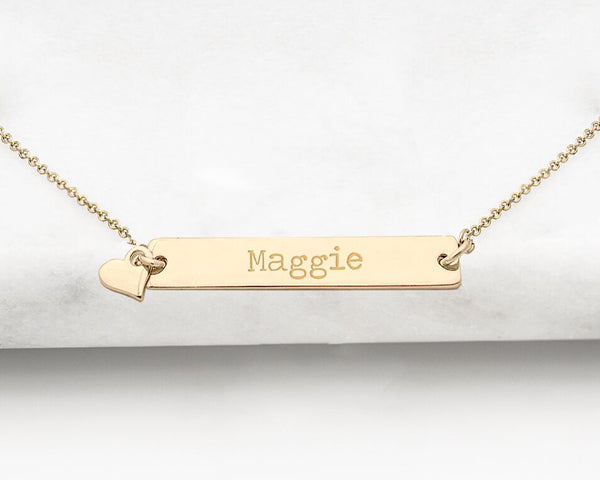 Personalized Bar Necklace with Heart Charm (Available in Gold & Silver)