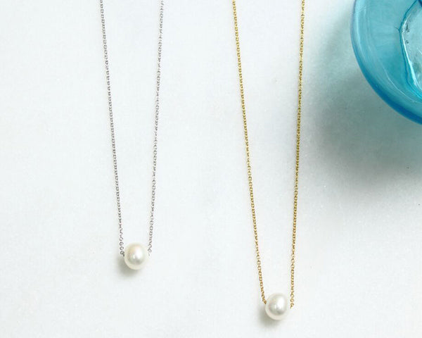 Floating Freshwater Pearl Necklace (Available in Gold & Silver)
