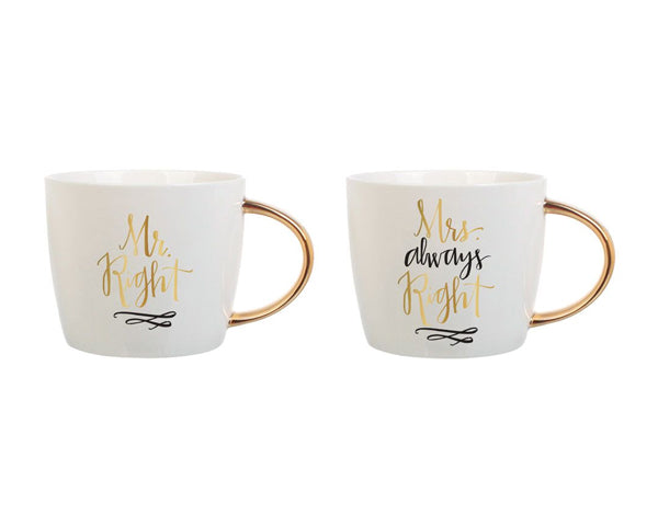 Mr. & Mrs. Right Ceramic Mugs - Set of 2