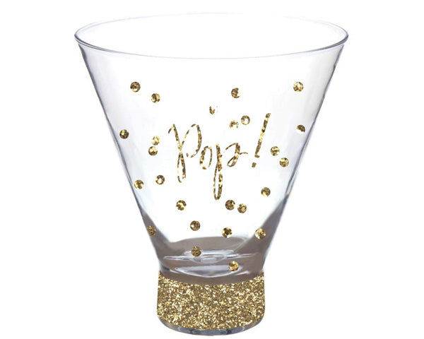 Pop Stemless Martini Glass with Glitter Foil Print