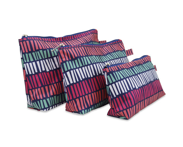 Tribal Stripe 3 Piece Cosmetic Bag Set