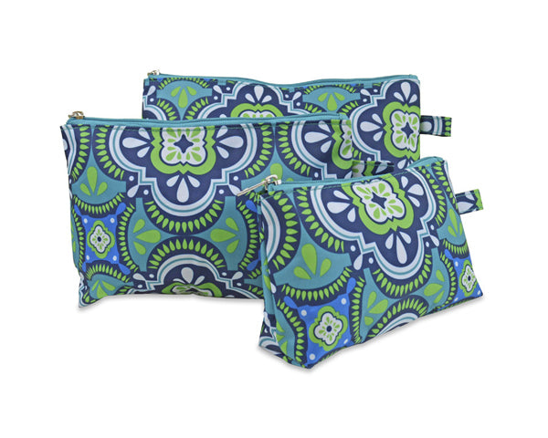 Pacific Splash 3 Piece Cosmetic Bag Set