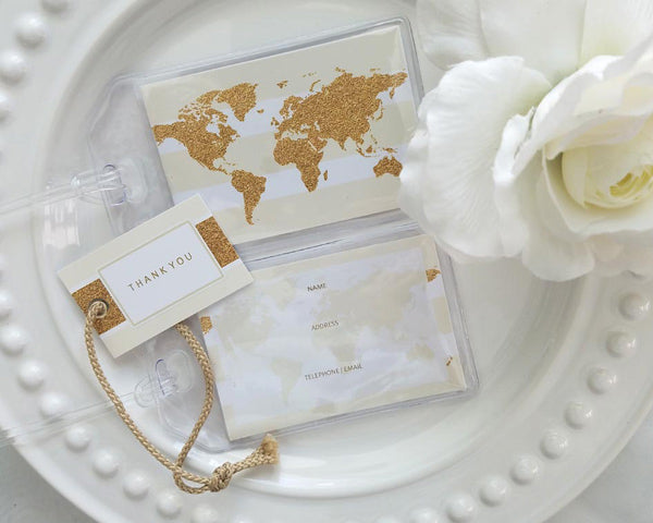 Glitter World Map Luggage Tag (Personalization Available)