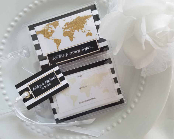Glitter World Map Black & White Striped Luggage Tag (Personalization Available)