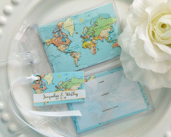 World Map Aqua Seas Luggage Tag (Personalized Gift Tag Available)
