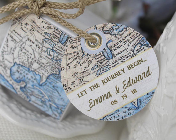 North American Blue Seas Favor Box with Personalized Tag