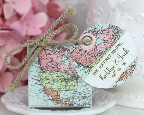 North American Pastel Favor Box with Personalized Tag