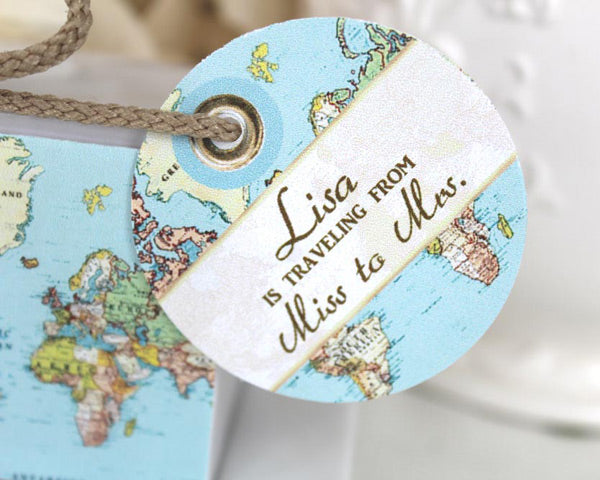 World Map Aqua Seas Favor Box with Personalized Tag