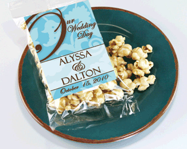 Personalized Spring Caramel Popcorn Wedding Favors