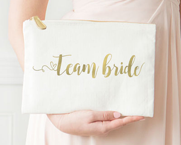 Team Bride Gold Foil Canvas Clutch