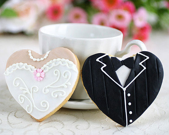 Load image into Gallery viewer, Heart Shaped Dress and Tux Cookies